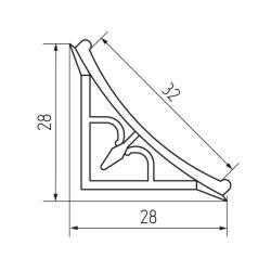 Плинтус кухонный рифленый  вогнутый алюминиевый  3,05м. Чертеж