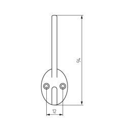 Крючок ОН-242, 2-х рожковый , хром Чертеж