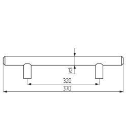 Ручка-рейлинг d=12 mm 320, мат.хром Чертеж