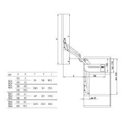 Вертикальный подъемный механизм FGV(59.0VLT.A9.K50.0000)AERO LOFT K50 H380-500 (11.5-14.6 KG)  Схема установки