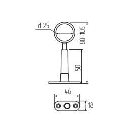 Штангодержатель на ножке d=25мм регулируемый глухой Z-011,хром К Чертеж