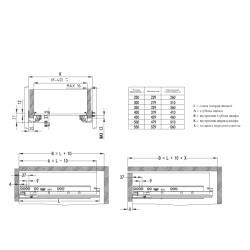 Направляющие скрытого типа EXCEL FGV 350мм 3D Clip-on полного выдв. с доводчиком Установочные размеры