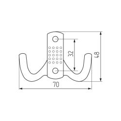 Крючок H5534E, 2-х рожковый, хром Чертеж