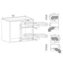 Волшебный уголок Unihopper  с дов., в ящик 900 мм, фасад 450 мм, с противоск.покр., серый, левый Установочные размеры
