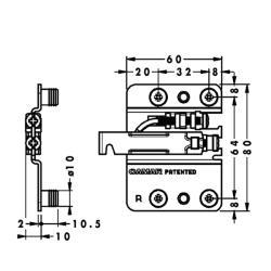 Подвеска каркаса 807.02.Z1.IN.SX, левая L, CAMAR Присадочные размеры