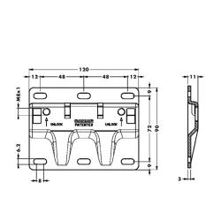 Площадка 897.AS.Z1.XL.90 для крепления к стене подвески каркаса 807 XL, CAMAR Чертеж