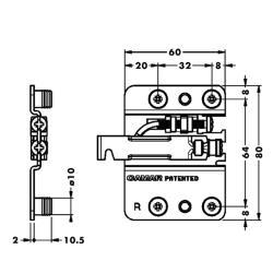 Подвеска каркаса со встроенным ящиком 807.02.Z1.RV.SX левая, CAMAR Присадочные размеры