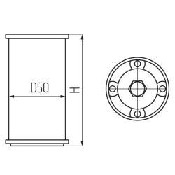 Опора 19606.080, d-50мм, h-80-90мм, алюмин. Чертеж