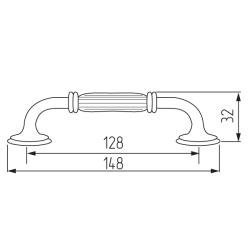 Ручка-скоба R84, 128мм, черный Чертеж