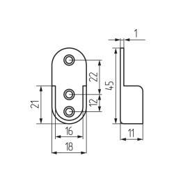 Штангодержатель для трубы овальной 30x15 мм, стальной Чертеж