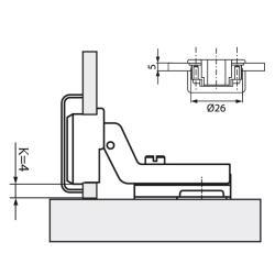 Петля для стекл FGV QS Mini 105° Slide-on, вкладная  Схема установки