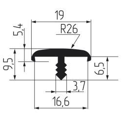 Профиль Т16-2мм гибкий, дуб фактурный Чертеж