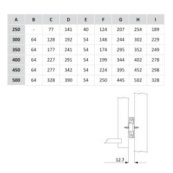 Шариковые направляющие полного выдвижения 350мм Н=45мм Установочные размеры