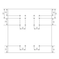 Комплект фурнитуры SLINE 35 для 2-х дверного шкафа L-1500 mm (max 35 кг) Польша Присадочные размеры