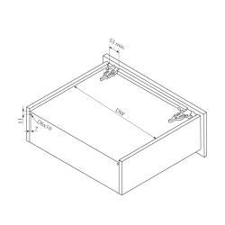 Направляющие для ящика Unihopper Magic Box, 500мм (комплект) Установочные размеры