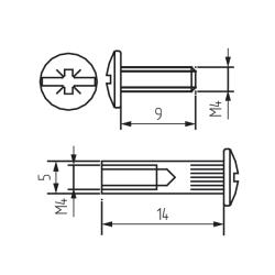 Межсекционная стяжка металл D=5 . L=16 Чертеж