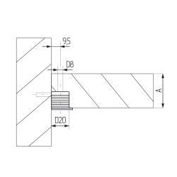 Эксцентрик усиленный пластиковый D 20мм темно-коричневый (DBRN) Схема установки