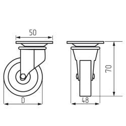 Колесная опора резиновая с площадкой d=50 с тормозом Чертеж