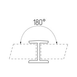 Соединение цоколя 180°, 100мм, пластик, алюминий шлифованный Чертеж