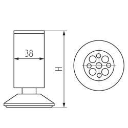 Опора 19166.404, d-38мм, h-149-156мм, алюмин. Чертеж