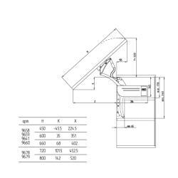Откидной подъемный механизм FGV (59.0VFL.A9.S30.0000) AERO FLAP S30 H450,600,660 (6,3-9,2KG)  Схема установки