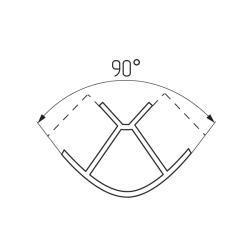 Соединение цоколя 90°(внешнее) 100мм, пластик, алюминий гладкий Чертеж