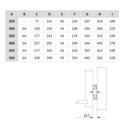 Шариковые направляющие полного выдвижения 600мм Н=45мм Установочные размеры