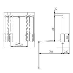 Пантограф алюминиевый 14105.001 450-600мм Установочные размеры