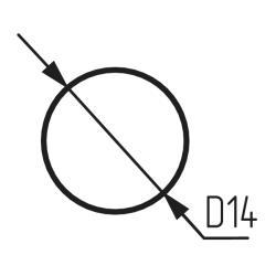 Заглушка самоклеящаяся, цвет дуб молочный 7523 D=14 мм , 50 штук Турция Чертеж