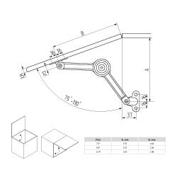 Кронштейн антресольный LS02  (200135.001), клик-кляк (Клок) D40хН18хL100 Схема установки