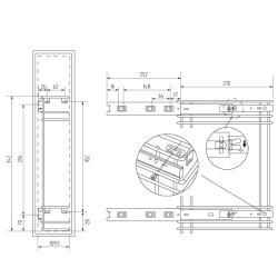Бутылочница 150мм 2-уровневая 100x262x340 в верхнюю базу Схема установки