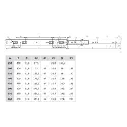 Шариковые направляющие полного выдвижения 250 мм Н=35 мм ECO Присадочные размеры