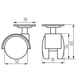 Колесная поворотная опора с площадкой d=50, 38х38х1,5 Схема установки