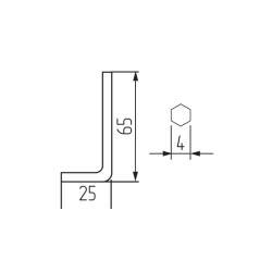 """Ключ шестигранный для евровинта 4мм """"Г""""-образный Чертеж"""