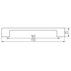 Ручка-скоба R74, 160мм, черный Чертеж
