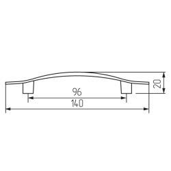 Ручка-скоба L459-96 матовый никель Чертеж