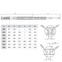 Шариковые направляющие полного выдвижения FGV 550 мм H=45мм с доводчиком Присадочные размеры