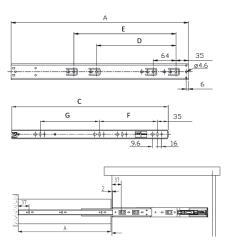 Шариковые направляющие полного выдвижения FGV 550 мм H=45мм с доводчиком Схема установки