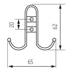 Крючок R15, 2-х рожковый, хром матовый Чертеж