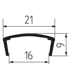 Профиль С16мм L2,8м жесткий, серебро глянцевое Чертеж