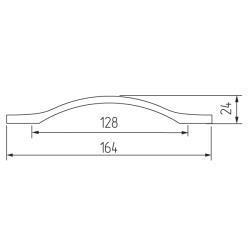 Ручка-скоба H76-128, хром Чертеж
