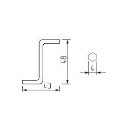 """Ключ шестигранный для евровинта 4мм """"S""""-образный Чертеж"""