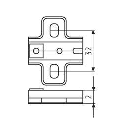 Установочная площадка FGV Genios Slide-On (4мм) саморез  Чертеж