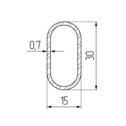 Штанга 30 х15  3,0м сталь, овальная, хром  (упаковка полиэтилен) Чертеж