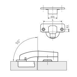 Петля FGV MS Slide-On 110* угловая 90*  Схема установки