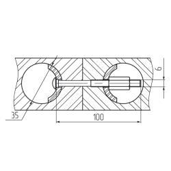 Стяжка для соединения столешниц, 100мм Установочные размеры