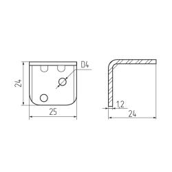 Уголок крепежный металлик с пластиковой крышкой (13) тип 2 Чертеж