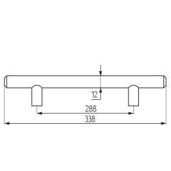 Ручка-рейлинг d=12 mm 288, мат.хром Чертеж
