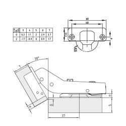 Петля FGV 30° Integra 2-Ways с доводчиком Схема установки