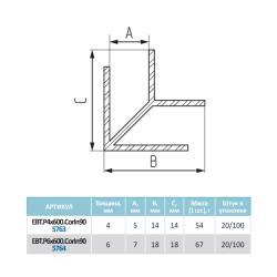 """Планка д/панелей """"Союз"""" 4мм 1070 600мм угловая (внутренний 90°)-(4) Чертеж"""